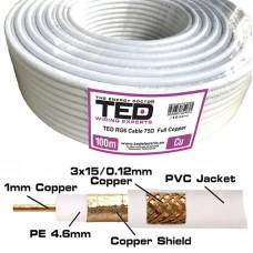 Cablu coaxial 75 ohm, RG6, cupru + tresa cupru