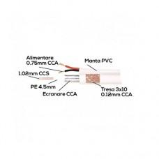 Cablu coaxial cu ALIMENTARE 75 ohm RG6 CCS + 2 fire CCA x 0,75 mm, alb,